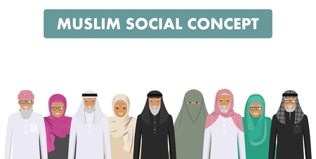 Arab old men and women standing together in different traditional islamic clothes on white background in flat style. Different dress styles. Flat design people characters. Social concept. Family concept. Standard-Bild - 101064196