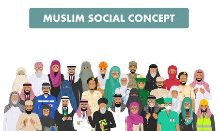 Social concept. Group muslim arabic people professions occupation standing together in different suit and traditional clothes on white background in flat style. Arab man and woman. Vector illustration