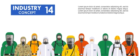 Group different workers in differences protective suits standing together in row on white background in flat style. Dangerous profession. Vector illustration. Ilustrace