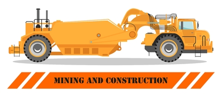 Off-highway truck. Heavy mining machine and construction equipment. Vector illustration.