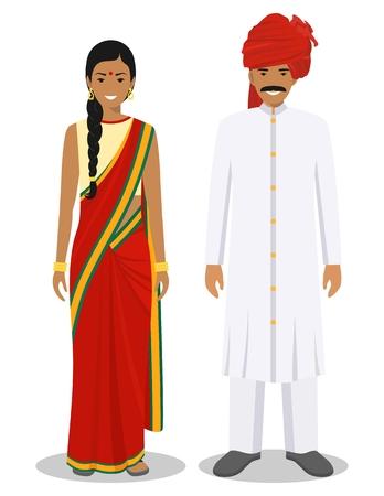 Conjunto de hombre y mujer indios de pie juntos con la ropa tradicional aislada sobre fondo blanco en estilo plano. Diferencias entre la gente en el este vestido. Ilustración vectorial. Ilustración de vector