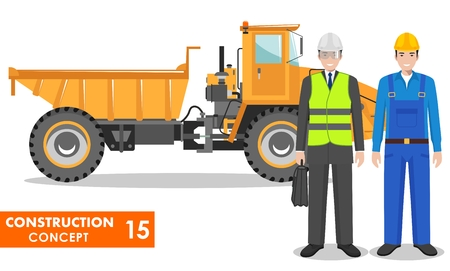 Worker concept. Detailed illustration of workman, driver, miner, builder, engineer, businessman and off-highway truck in flat style. Heavy mining machine and construction equipment. Vector. Illustration
