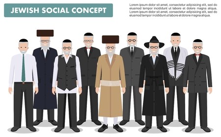 Family and social concept. Group senior jewish men standing together in different traditional clothes in flat style.