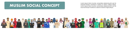 Social concept. Large group muslim arabic people professions occupation standing together in different suit and traditional clothes in flat style. Arab men and women in row. 일러스트