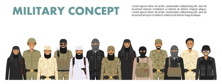 Military concept. Set of different detailed illustration of arab muslim soldiers in camouflage uniforms standing in together in flat style on white background. Vector illustration. Stockfoto - 103773359