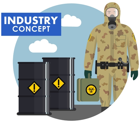 Industry concept. Detailed illustration of worker, soldier in camouflage protective suit on background of barrels with chemical, radioactive, toxic, hazardous substances in flat style. Vector. Illustration