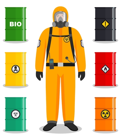 Industrie concept. Gedetailleerde illustratie van werknemer in beschermend pak. Metalen vaten voor olie, biobrandstof, explosieve, chemische, radioactieve, giftige, gevaarlijke, gevaarlijke, brandbare en giftige stoffen.