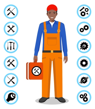 Repair service concept. Detailed illustration of master repairer in flat style. Simple icons set: wrench, screwdriver, hammer and gear. Services icon or button isolated on white background. Vector illustration.