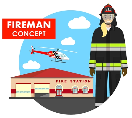 Fireman concept. Detailed illustration of woman firefighter in uniform on background with fire station building and helicopter in flat style. Vector illustration.