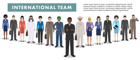 Group of creative people isolated on white background. Set of diverse business people standing together. Different nationalities and dress styles. Cute and simple in flat style.  イラスト・ベクター素材