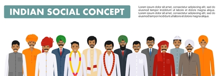 Social concept. Group indian people standing together in different traditional national clothes on white background in flat style. Vector illustration. Vector Illustration
