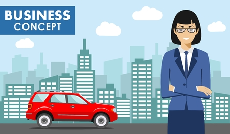 Business concept. Detailed illustration of young american businesswoman on background with red car and cityscape in flat style. Vector illustration.