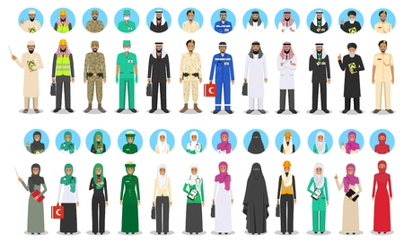 Different muslim Middle East people occupation characters set in flat style. Professions of men and women. Set of avatars icons. Templates for infographic, sites, banners, social networks. Vector. 일러스트