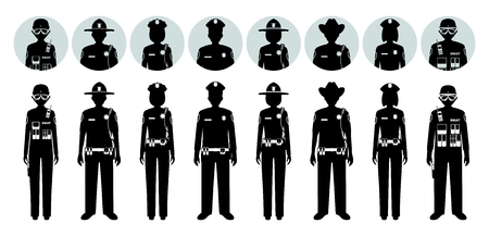 Police concept Set of different silhouettes and avatars icons of sheriff, SWAT officer, policewoman and policeman in flat style on white background. Vector illustration.