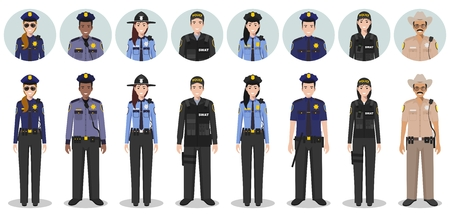 Detailed illustration and avatars icons of sheriff, SWAT officer, policewoman and policeman in flat style on white background.
