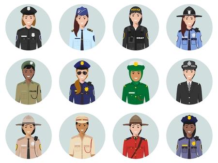 Satz bunte Polizei verschiedene Länder flache Stilikonen: Sheriff, Gendarm, Polizist, Polizistin. Vektorillustration.