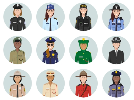 Set of colorful police different countries flat style icons: sheriff, gendarme, policeman, policewoman. Vector illustration.