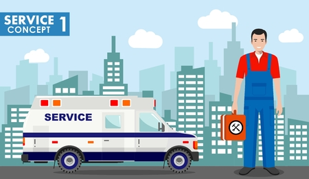 Repair service concept. Detailed illustration of service machine and master repairer on background with cityscape in flat style. Vector illustration. 일러스트