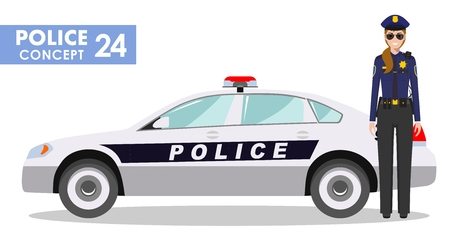 Policeman concept. Detailed illustration of policewoman officer and police car in flat style on white background. Vector illustration. Stock Photo