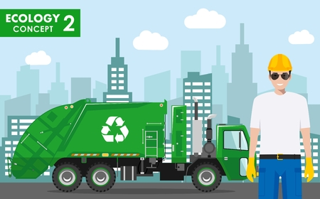 Ecology concept. Detailed illustration of garbage man in uniform and garbage truck on modern cityscape background in flat style. Vector illustration.