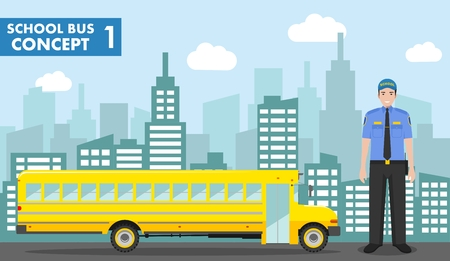 Education concept. Detailed illustration of driver and yellow school bus on background with cityscape in flat style. Vector illustration.