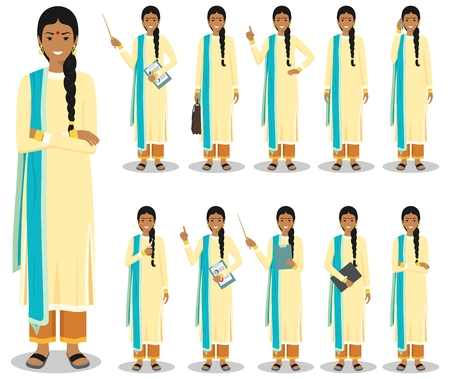 Business concept. Detailed illustration of indian businesswoman standing in different positions in flat style isolated on white background. Vector illustration.