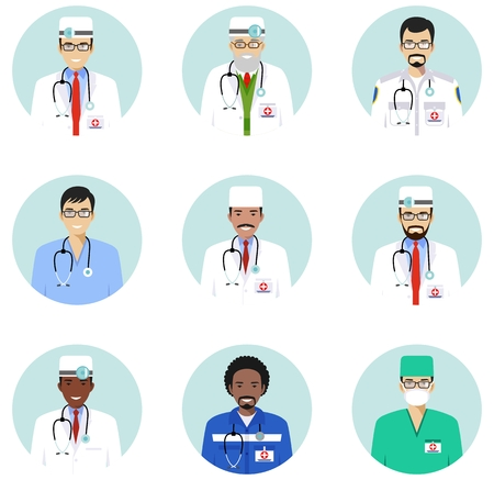 Medical concept. Different doctors, nurses characters avatars icons set in flat style isolated. Differences medical persons smiling faces. Vector illustration.
