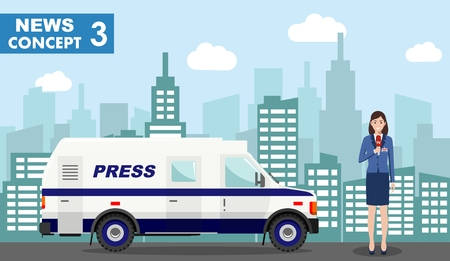 Journalistic concept. Detailed illustration of reporter and TV or news car in flat style on on background with cityscape. Vector illustration. 스톡 콘텐츠