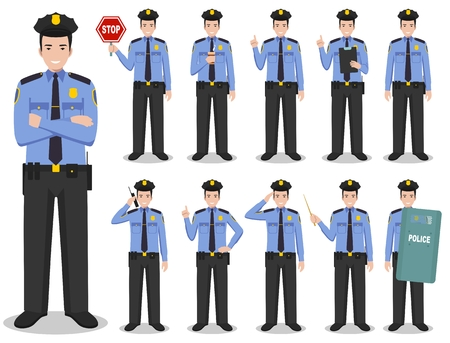 Set of different detailed illustration of american SWAT officer, policeman and sheriff standing in different positions in flat style on white background. Vector illustration. Stock Illustratie