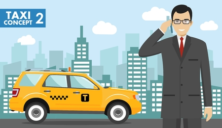 Taxi service concept. Detailed illustration of businessman on background with taxi and cityscape in flat style.