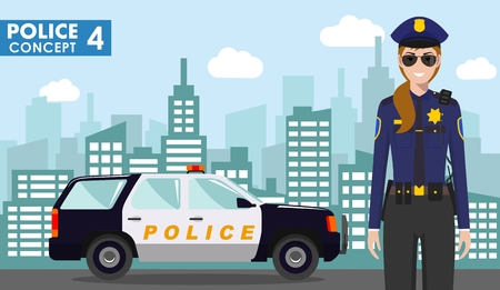 Police concept. Detailed illustration of police officer and police car on background with cityscape in flat style. Vector illustration.