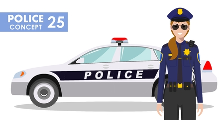 Detailed illustration of police car and woman police officer in flat style on white background.