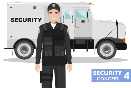Detailed illustration of armored security car and security guard on white background in flat style. Stock Illustratie