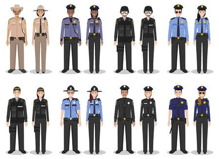Detailed illustration of sheriff, SWAT officer, policewoman and policeman in flat style on white background.