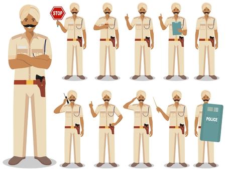 Concetto di persone di polizia. Illustrazione dettagliata del poliziotto indiano in piedi in diverse pose in stile piano isolato su priorità bassa bianca. Caratteri di persone design piatto. Illustrazione vettoriale.