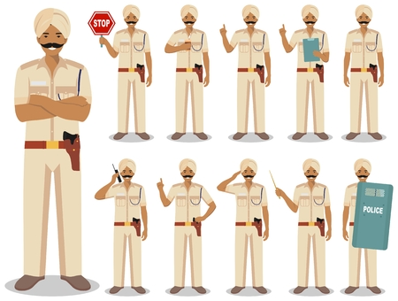 Police people concept. Detailed illustration of indian policeman standing in different poses in flat style isolated on white background. Flat design people characters. Vector illustration.