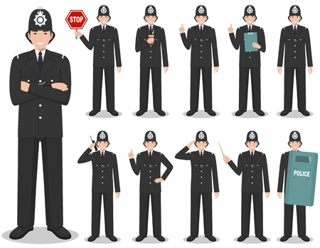 Police people concept. Detailed illustration of british policeman in traditional uniform standing in different poses in flat style isolated on white background. Flat design people characters. Vector.