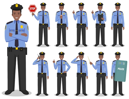 Set of different detailed illustration of african american SWAT officer, policeman and sheriff standing in different positions in flat style on white background. Vector illustration.