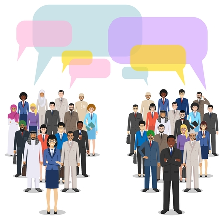 Group of creative people and speech bubbles isolated on white background. Set of diverse business people standing together. Different nationalities and dress styles. Cute and simple in flat style. Fla