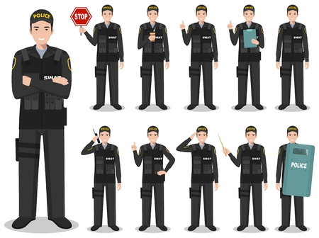 Set of different detailed illustration of american SWAT officer, policeman and sheriff standing in different positions in flat style on white background. Police USA concept. Vector illustration. Stock Illustratie
