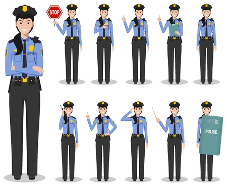 Set of different detailed illustration of american SWAT officer, policewoman and sheriff standing in different positions in flat style on white background. Vector illustration. Ilustración de vector