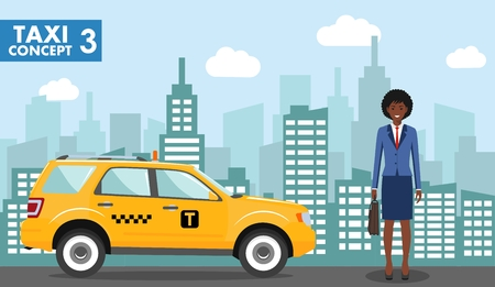 Taxi service concept. Detailed illustration of african american businesswoman on background with taxi and cityscape in flat style.