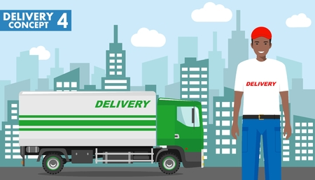 Transportation concept. Detailed illustration of delivery truck and african american driver, deliveryman on background with cityscape in flat style. Vector illustration.