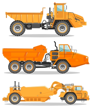 Detailed illustration of mining truck. Off-highway truck. Heavy mining machine equipment and construction machinery.