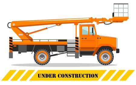 Detailed illustration of aerial platform truck. Heavy construction machine. Heavy equipment and machinery. Illusztráció