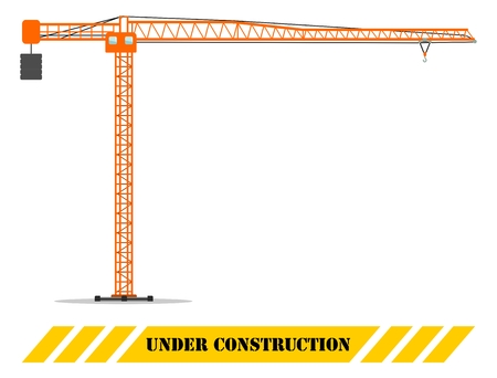 Detailed illustration of colored building tower crane, heavy equipment and machinery. Construction machine. Vector illustration.