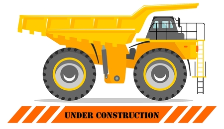 Detailed illustration of mining truck. Off-highway truck. Heavy mining machine equipmente and construction machinery.