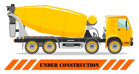 Detailed illustration of concrete mixer, heavy equipment and machinery. Vector illustration. Illusztráció