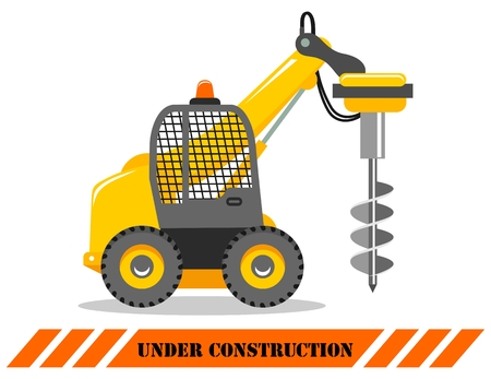 Detailed illustration of car with drilling rig, heavy equipment and machinery. Drilling truck.