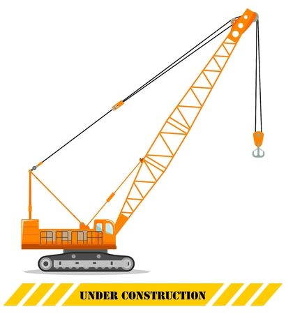 Detailed illustration of crane. Heavy construction equipment and machinery. Crawler crane. Vector illustration.